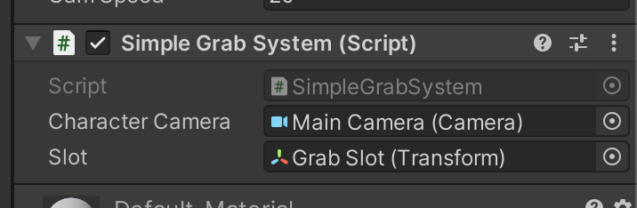 Attached <i>SimpleGrabSystem</i> component to the player